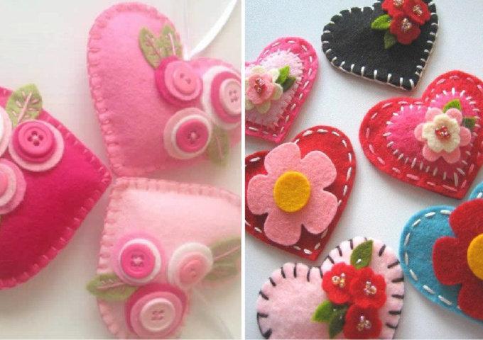 feutre des cœurs pour la fête des mères