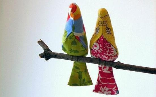 Lindos passarinhos em tecido