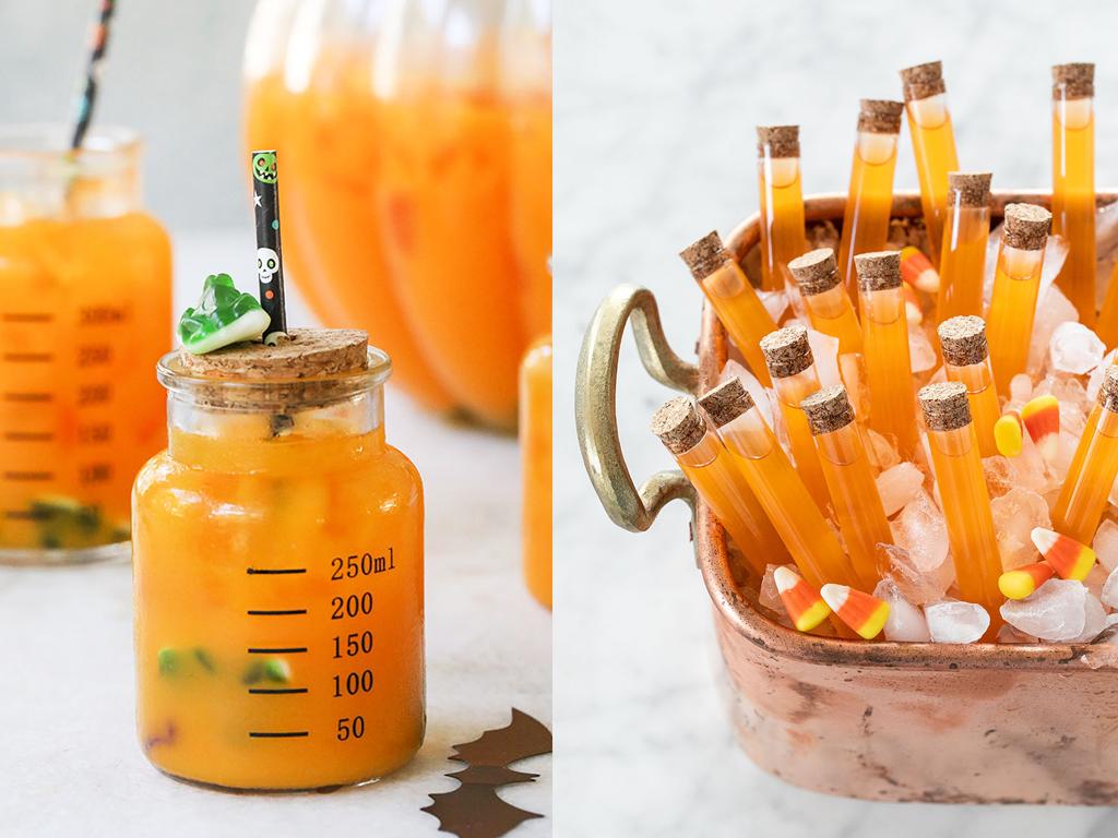 Boissons amusantes à l'orange et à la carotte sur le thème de l'Halloween