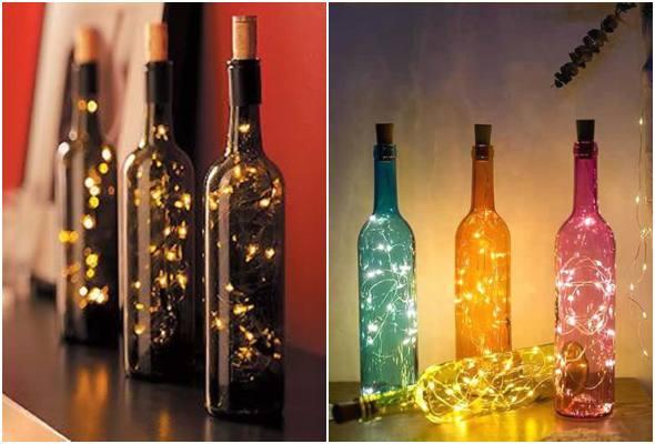 Décorations avec bouteilles et clignotant pour Noël