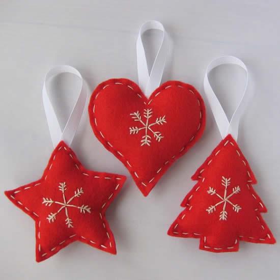 Beaux ornements en feutre pour Noël