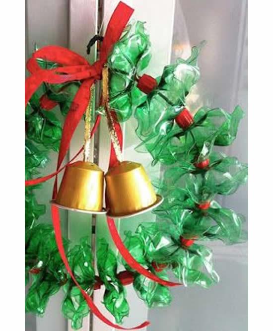 Guirlande de Noël avec recyclage de bouteilles en PET