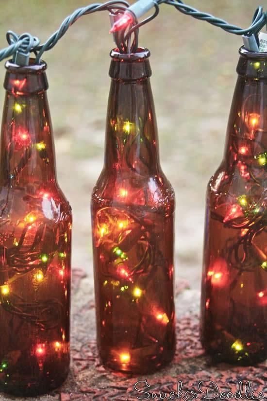 Ornements avec bouteilles en verre et clignotant pour Noël
