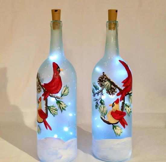 Beau décor avec clignotant et bouteilles