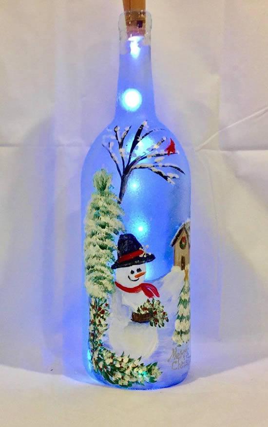Décoration avec flasher et bouteille pour Noël