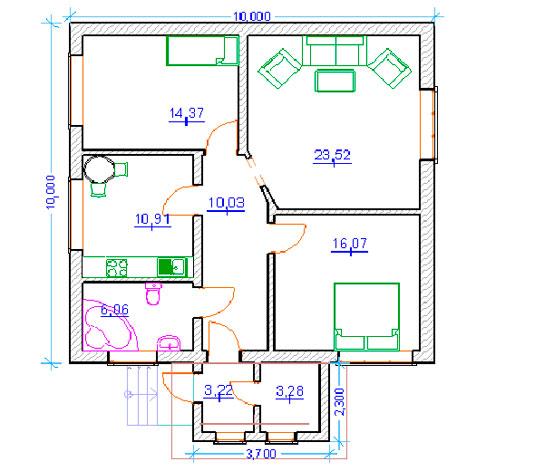 Projet numéro 3 pour deux chambres et un salon