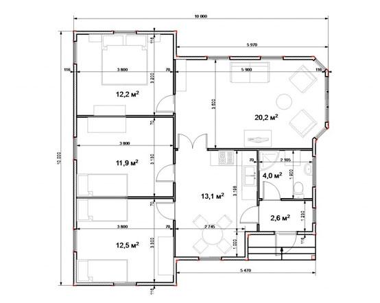 Projet n ° 4 avec terrasse ou véranda