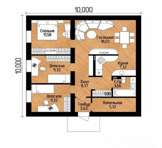 Projet numéro 1 avec trois chambres et un salon
