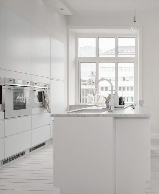 Intérieur de l'appartement en blanc