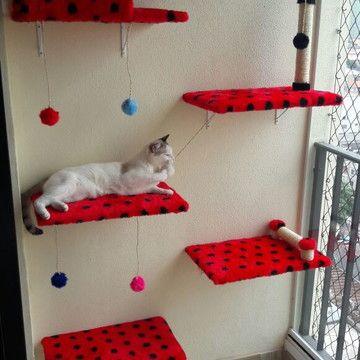 étagères rembourrées pour chats