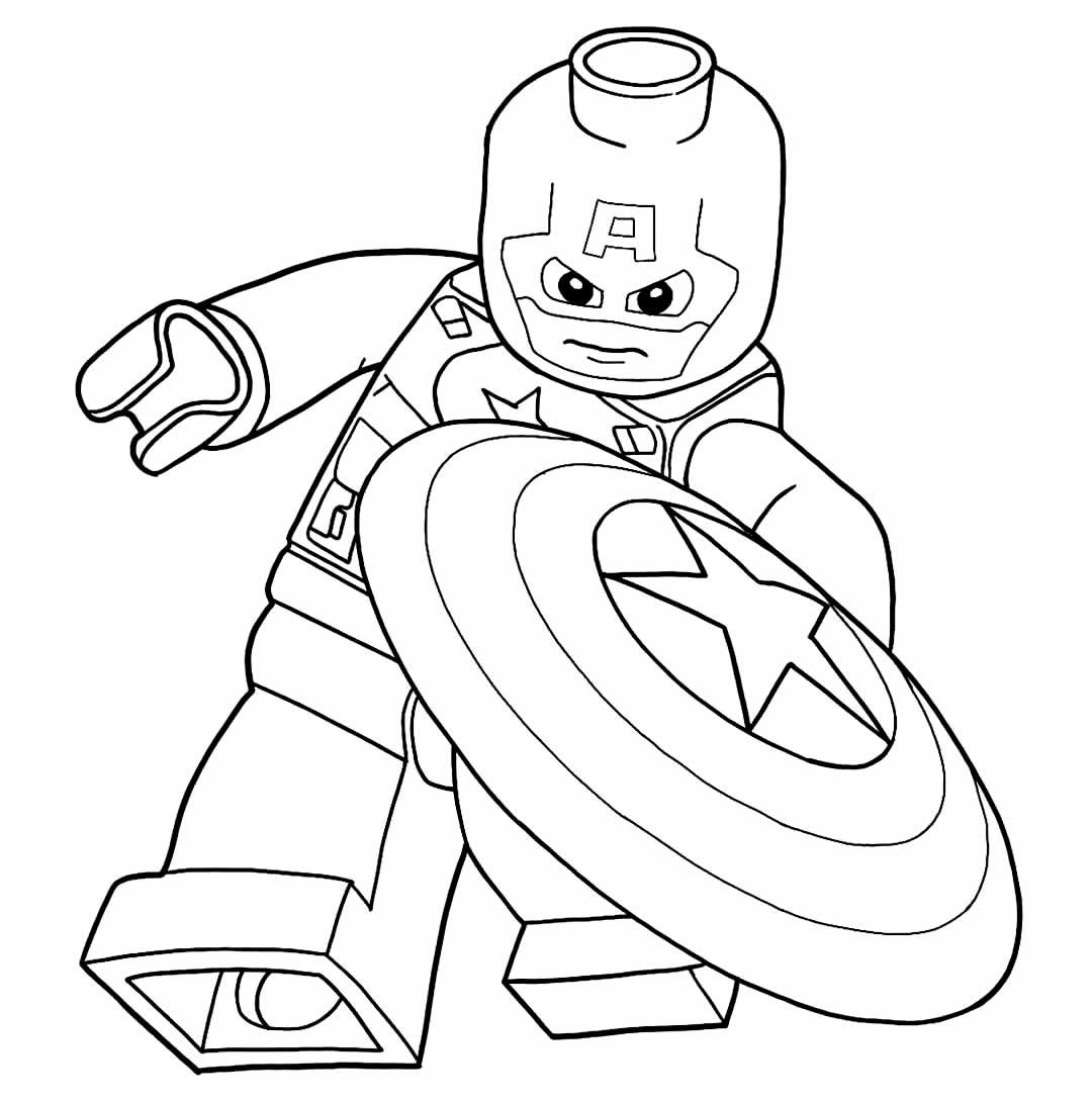 Modèle Captain America Lego à colorier