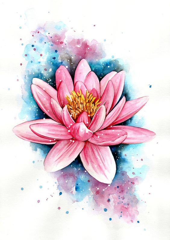 tatouage de fleur aquarelle