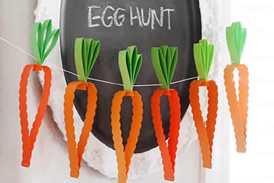 Guirlande de carottes en papier pour Pâques