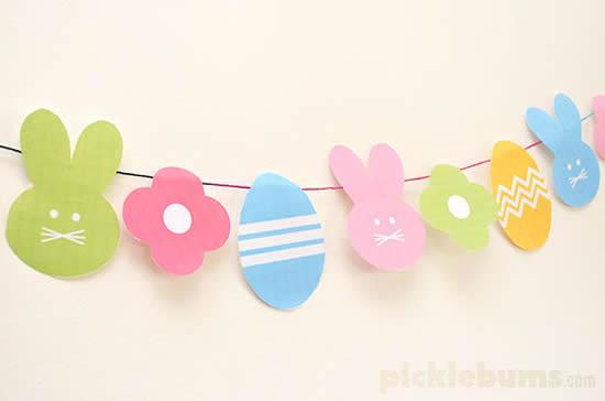 Belle guirlande de corde à linge pour Pâques