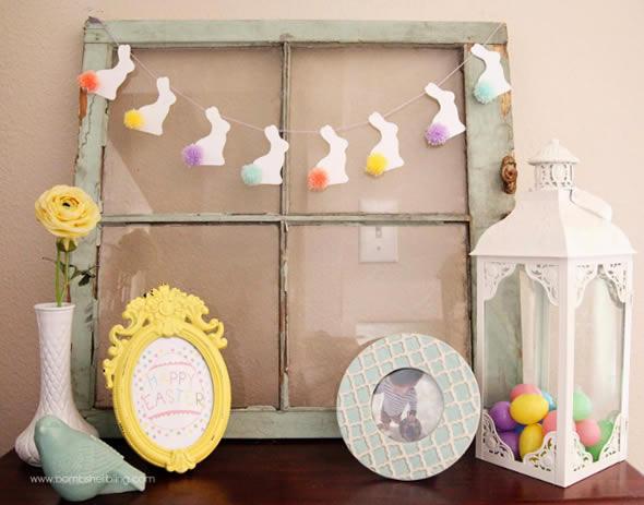 Guirlande avec des lapins en papier pour la décoration de Pâques