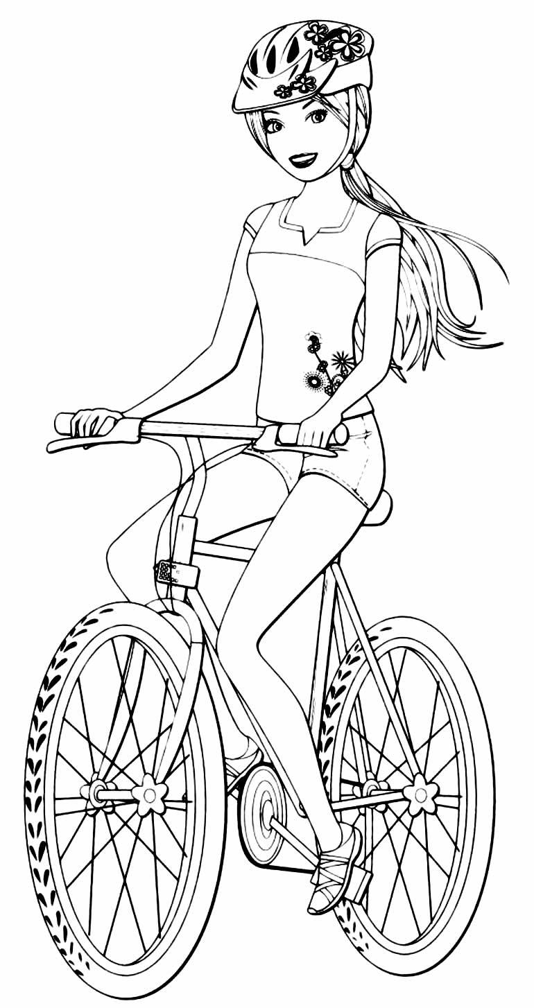 Coloriage Barbie avec vélo
