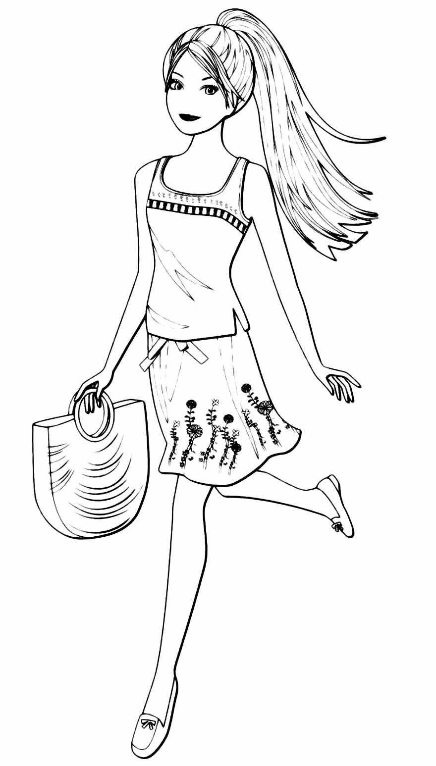 Coloriage Barbie avec sac