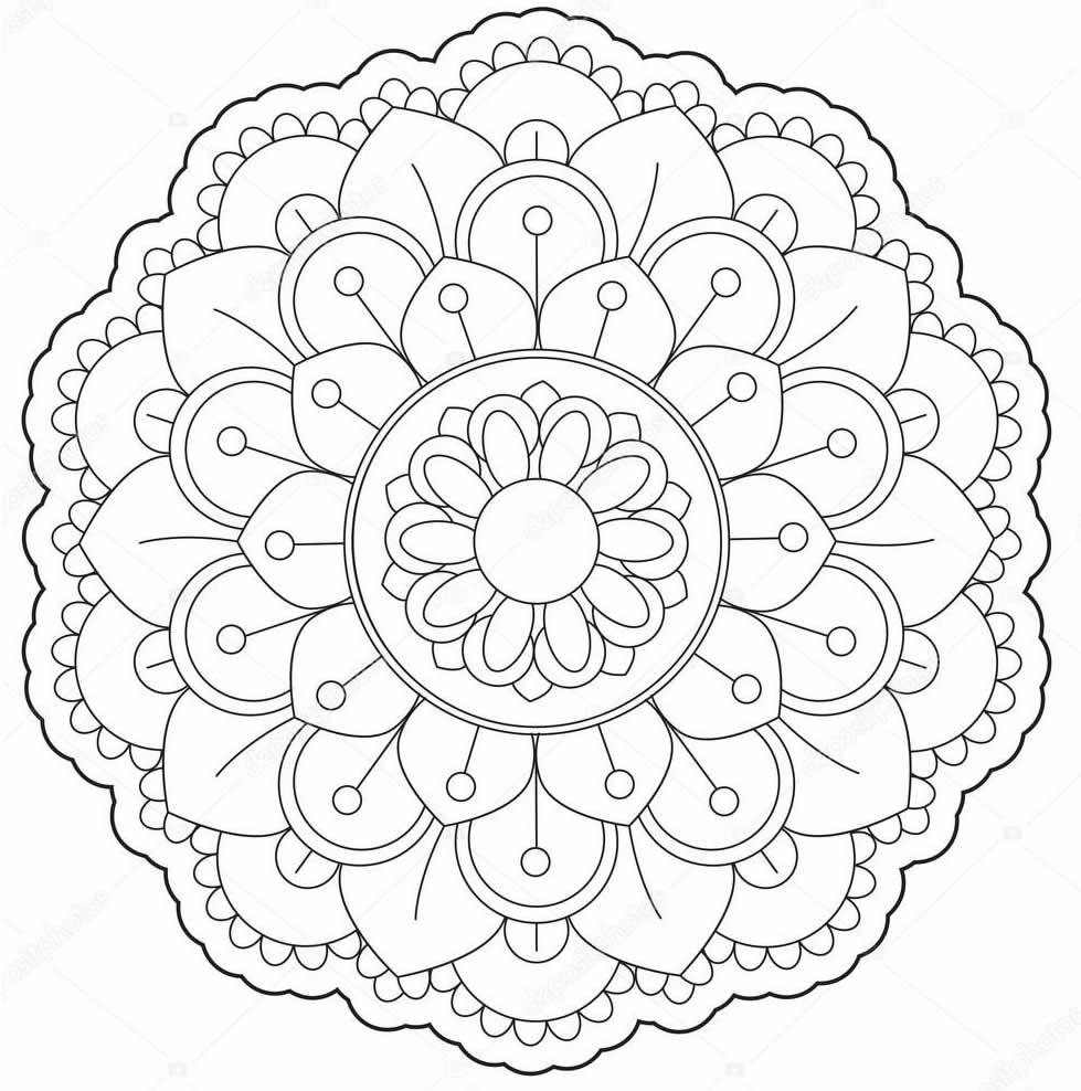 Beau modèle de Mandala à colorier