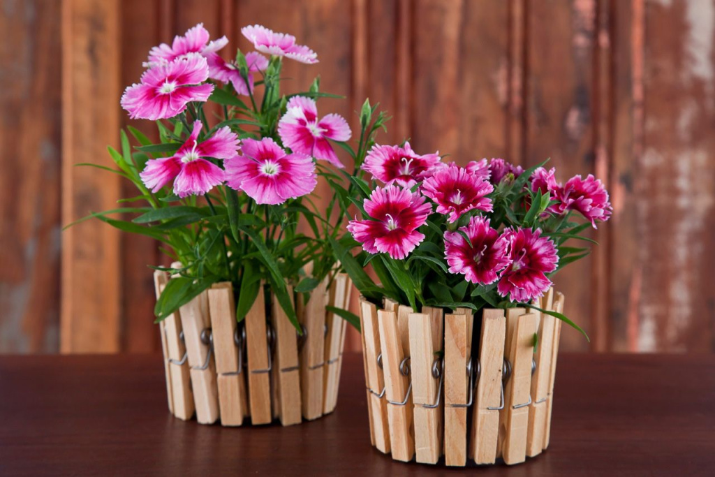 Vase végétal décoré de pinces à linge