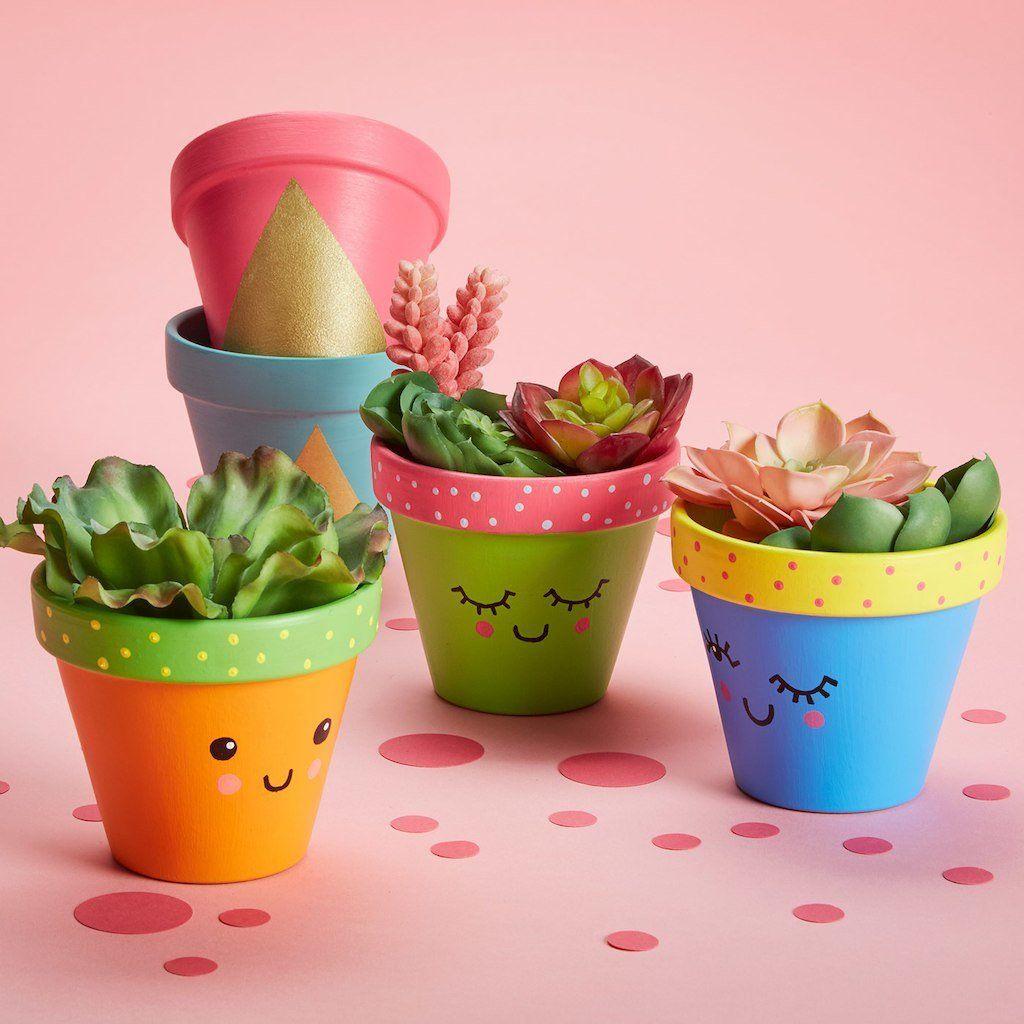 Pots de plantes colorés avec visage dessiné sur le devant