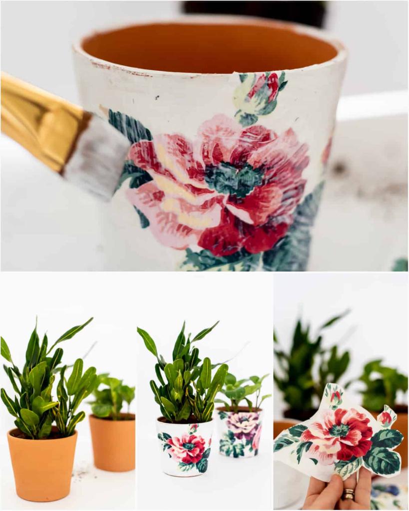 Vase pas à pas décoré selon la technique de serviettage